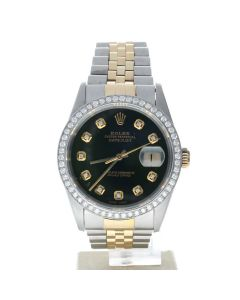 Rolex DateJust 36 Stainless-steel 16233 Green Dial Mens 36-mm Automatic self-wind Sapphire crystal. Swiss Made Wrist Watch