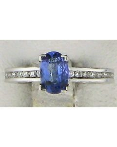 0.56ct Oval  Tanzanite and Round White Diamond  14k WG Rings - 187719
