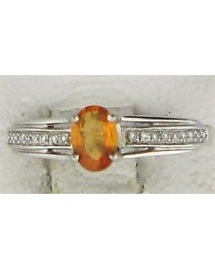 0.09ct Oval  natural yellow sapphire gauging and Round White Diamond  18k WG Rings - 187721