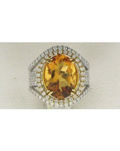 1.48ct Oval  Citrine Orangy yellow and Round White Diamond  14k WG Rings - 187723