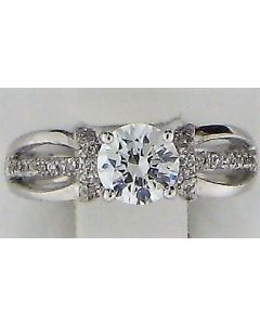 0.15ct Round  CZ and Round White Diamond  14k WG Rings - 187742