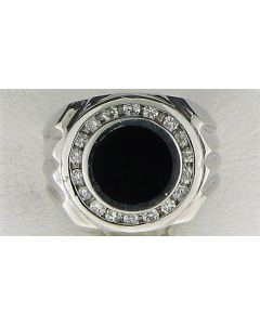 0.63ct Round  Black Onyx and Round White Diamond  14k WG Rings - 187744
