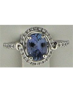 0.4ct Oval  Tanzanite and Round White Diamond  14k WG Rings - 187745