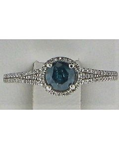 0.55ct Blue & 0.12ct White Round Diamond 14k WG Rings -187757