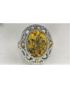 7.82ct Citrine & 1.10ct White Diamond 14k WG Rings - 187788