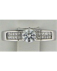 One Round CZ and 0.25Round White Diamond 14k WG Rings - 187796