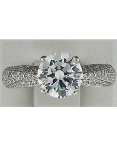 8mm CZ & 0.50ct Round Diamond 18k WG Rings -187813