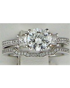 6.50mm CZ & 0.60ct Round Diamond 18k WG Rings -187824