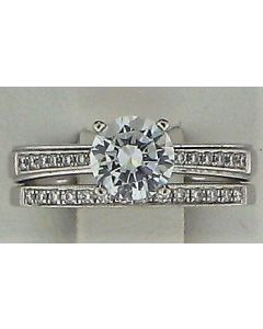 6.50mm CZ, 0.17ct Round White Diamond 18k WG Rings-187825
