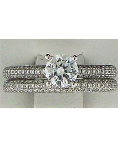 One CZ Round stone & 0.82cts  Round Diamond 18k WG Rings - 187833