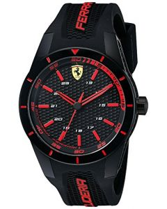 Ferrari RED REV Plastic 0830245 Black Dial Mens 44-mm Japanese-quartz Mineral cr