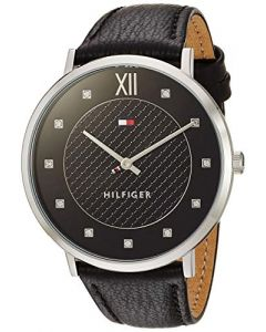 Tommy Hilfiger Women's Sophisticated Sport Stainless Steel Quartz Watch with Leather Strap, Black, 20 (Model: 1781808)
