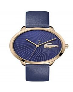 Lacoste Women's Lexi Quartz Rose Gold IP and Leather Strap Strap Casual Watch, Blue, 2001058