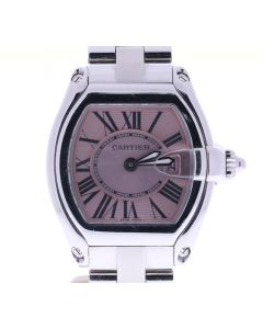 Cartier Roadster Stainless-steel 2675 Pink Dial Womens Quartz Sapphire Watch