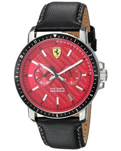 Ferrari Men's Turbo Stainless Steel Quartz Watch with Leather Strap, Black, 830449