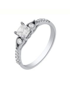 0.75 Ct. T.W. Diamond Ring In 18 Karat White Gold