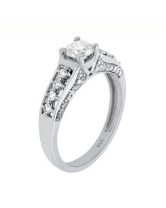 0.80 Ct. T.W. Diamond Rings In 18 Karat White Gold