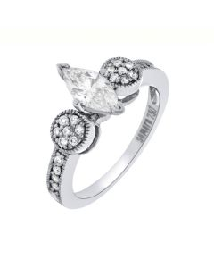 0.90 Ct. T.W. Diamond Ring In 18 Karat White Gold