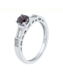 0.55 Ct. T.W. Smoky Topaz Engagement Ring in 18 Karat White Gold
