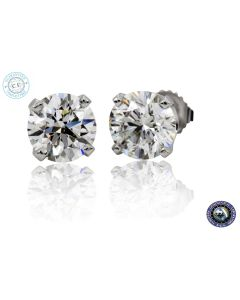 EGL-USA Certified 1 CTW Diamond Stud Earrings With Screwbacks In 14K White Gold