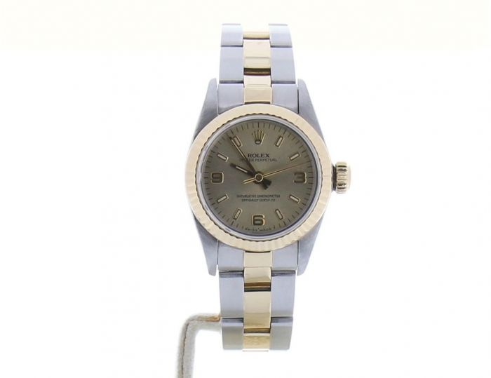Rolex Lady Oyster Perpetual 18K-SS 67193 Champagne Dial 26-mm Automatic Watch
